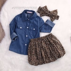 Matching Denim Cheetah Girl Flow Y Outfit Set